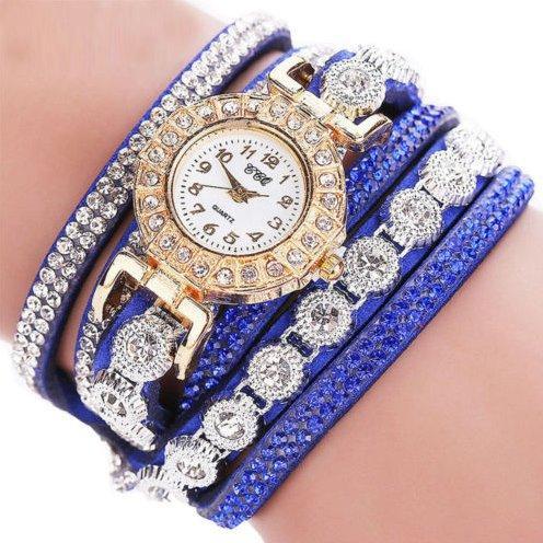 fb3b42cfd4a Relógio de Pulso Feminino - Analógico- Pulseira de Couro - Strass - Azul  Escuro ...