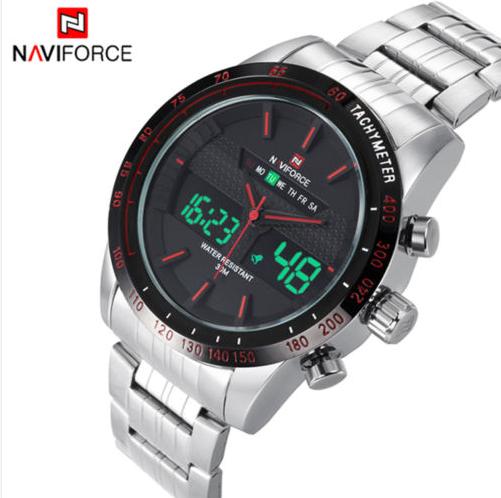 7c3cc10e6aa Relógio de Pulso Masculino - Militar - Naviforce - Analógico e Digital -  Pulseira de aço inoxidável - Prata e Vermelho