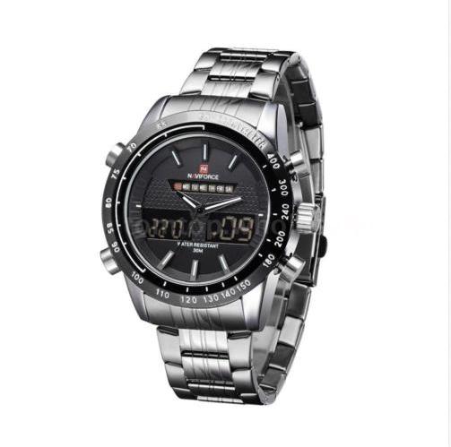 a57b5d64150 Relógio de Pulso Masculino - Militar - Naviforce - Analógico e Digital -  Pulseira de aço inoxidável - Prata e Branco