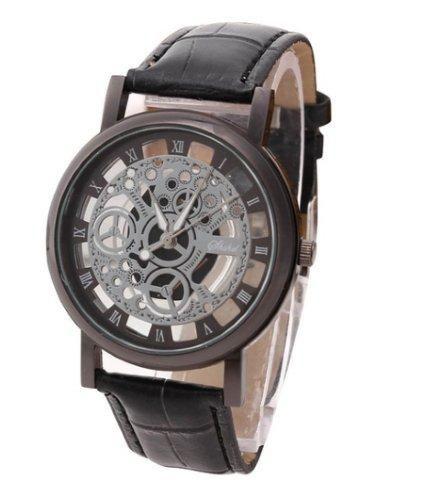 3f956492e1e Relógio de Pulso Masculino - Quartz - Modelo Italiano - Analógico - Pulseira  de Couro Preto- Black Gold
