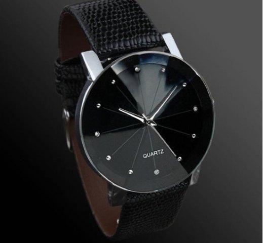 e50c1f97c5d Relógio de Pulso - Quartz - Analógico - Pulseira de Couro Preto- Black -  Ekompras ...