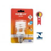 Lampada Ourolux Fluor Espiral Luz Branca 15WX127V