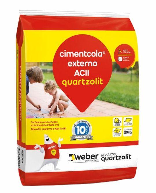 Argamassa Quartzolit Cimentcola Uso Externo AC-II Cor Cinza - 20Kg