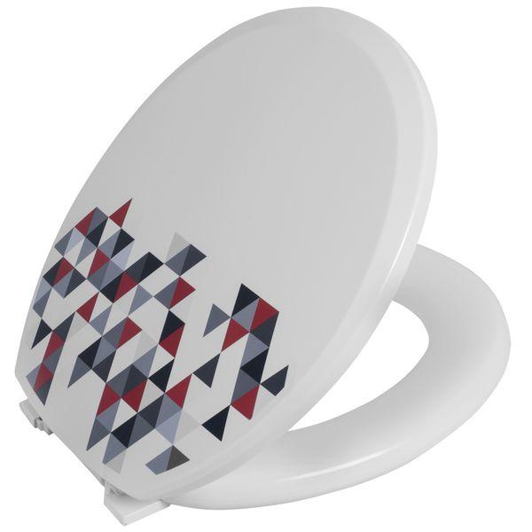 Assento Sanitario Astra Oval Almofadado TPK2/D - Decorado Branco (BR-TG)