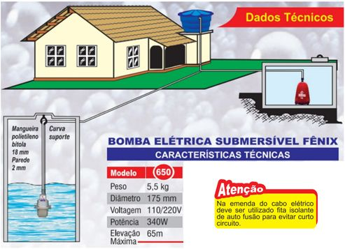 Bomba Fenix Submersa 650 - 340W