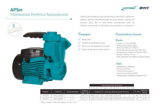 Bomba Lepono Auto Aspirante APSm37L - 1/2CV