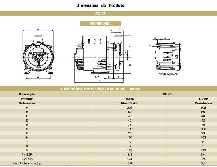 Bomba Schneider Centrifuga BC 98 - 1/2CV