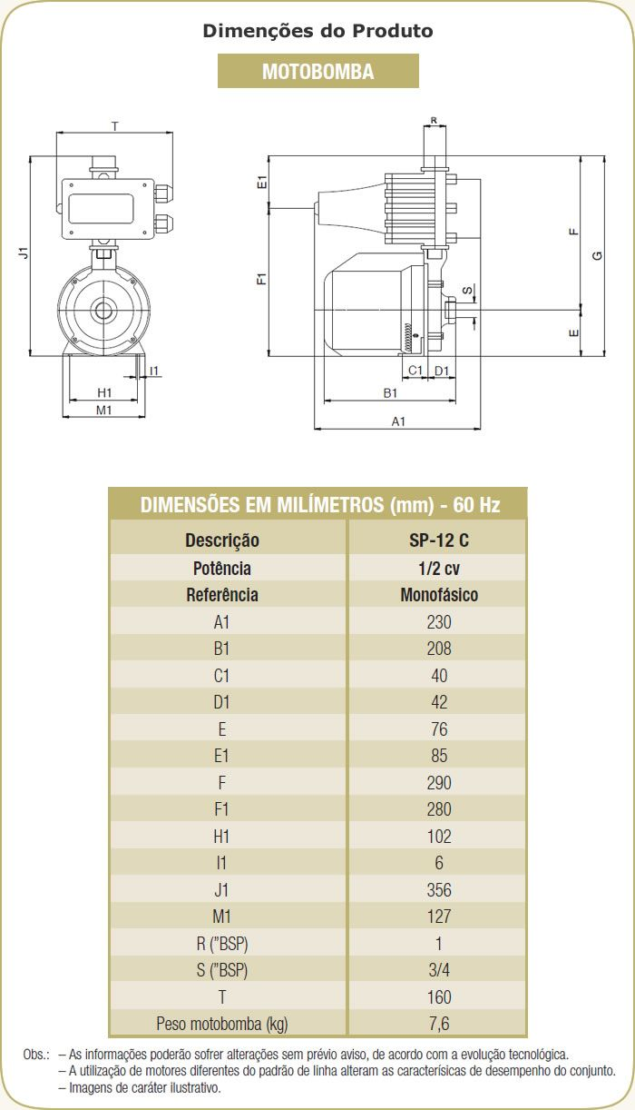 Bomba Schneider Pressurizada SP-12C - 1/2CV