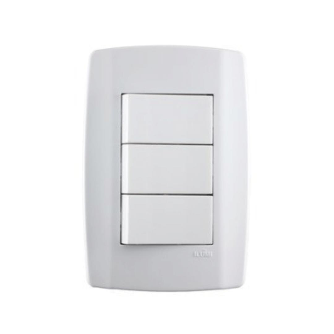 Interruptor Ilumi Slim 3 Seções com Placa - Ref. 8019