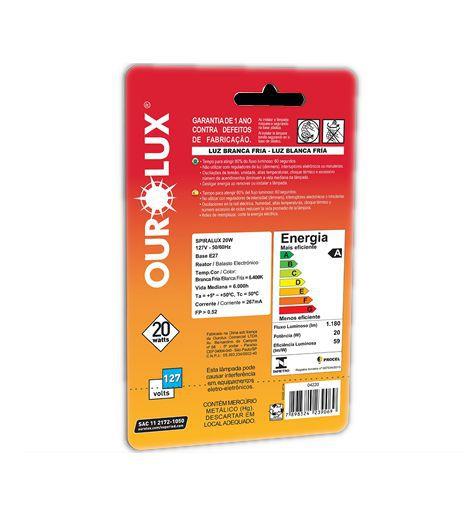 Lampada Ourolux Fluor Espiral Luz Branca 20WX127V