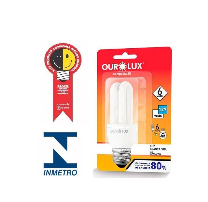 Lampada Ourolux Fluor Luz Branca 06W X 127V (2U)