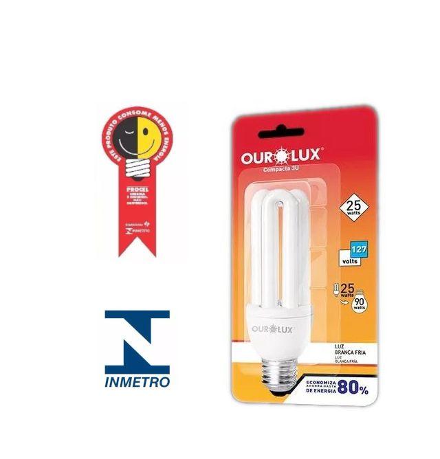 Lampada Ourolux Fluor Luz Branca 25W X 127V (3U)