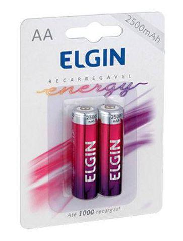 Pilha Elgin Recarregável  Pequena  AA 2500A - (2un)