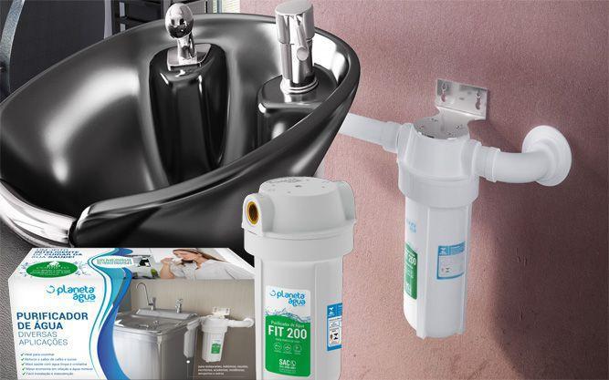 "Purificador de Agua Fit 200 Branco 7"" com Refil PA 200 Rosca 1/2"