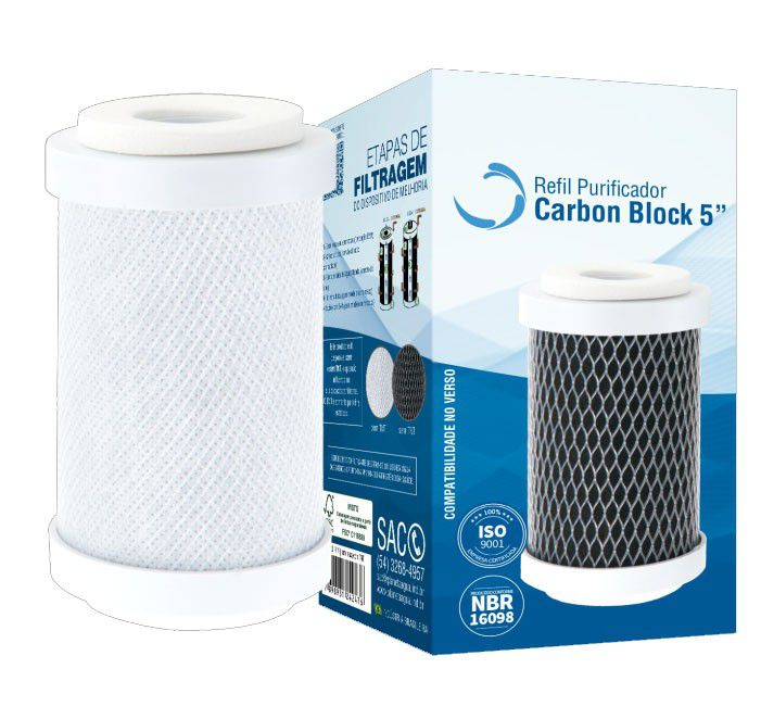 Refil Carbon Block 5 Pol. s/Rosca c/TNT