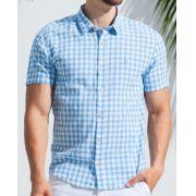 Camisa Ankor Manga Curta Xadrez - Azul