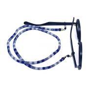 Cordão para Óculos Étnico Roliço Azul e Branco