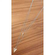 Corrente de Aço Inox Dupla Flecha e Bala Prata