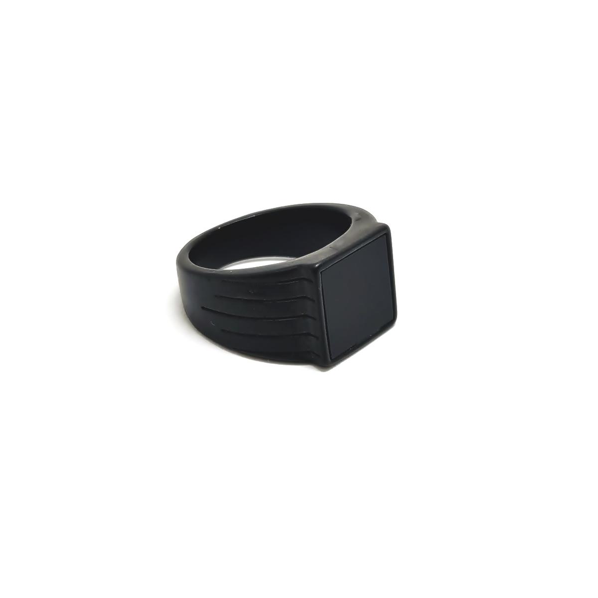 Anel Aço Inox Black Stone