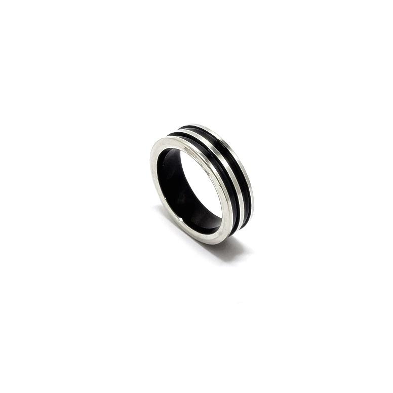 Anel Aço Inox Black Stripes