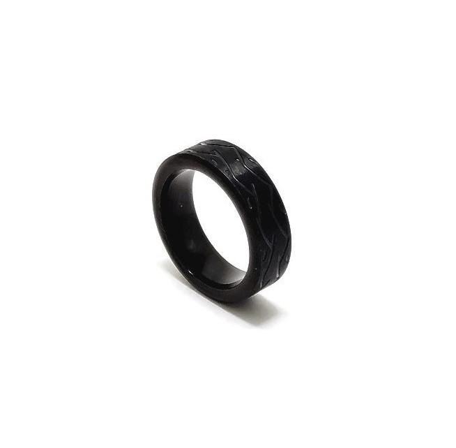 Anel Aço Inox Black Wave