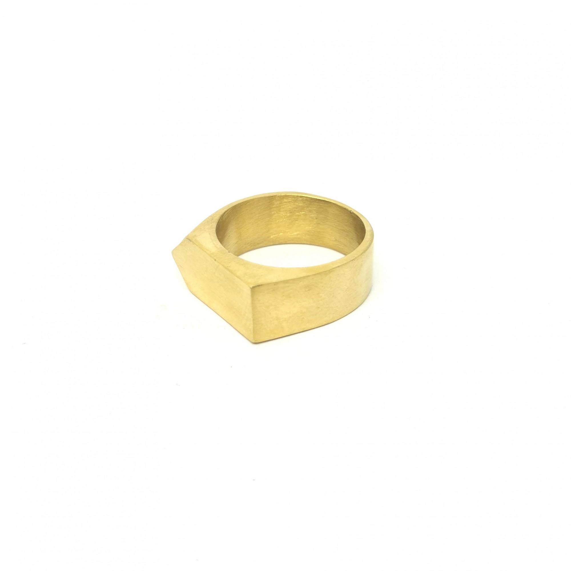 Anel Aço Inox Escovado Masculino Pointed Gold