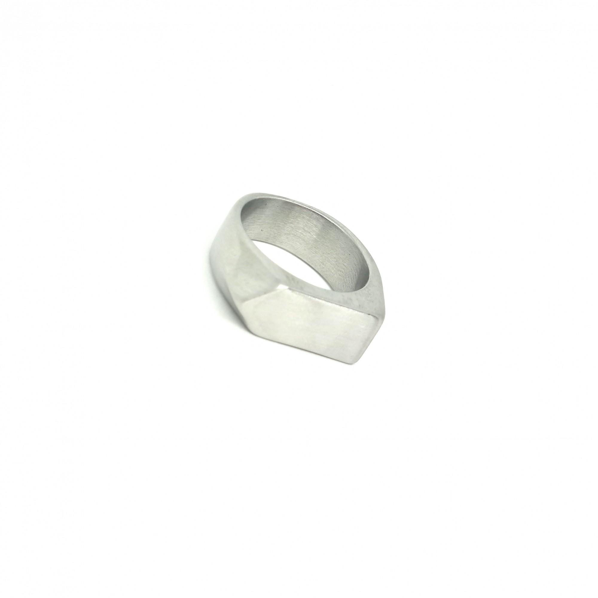 Anel Aço Inox Escovado Masculino Pointed prata