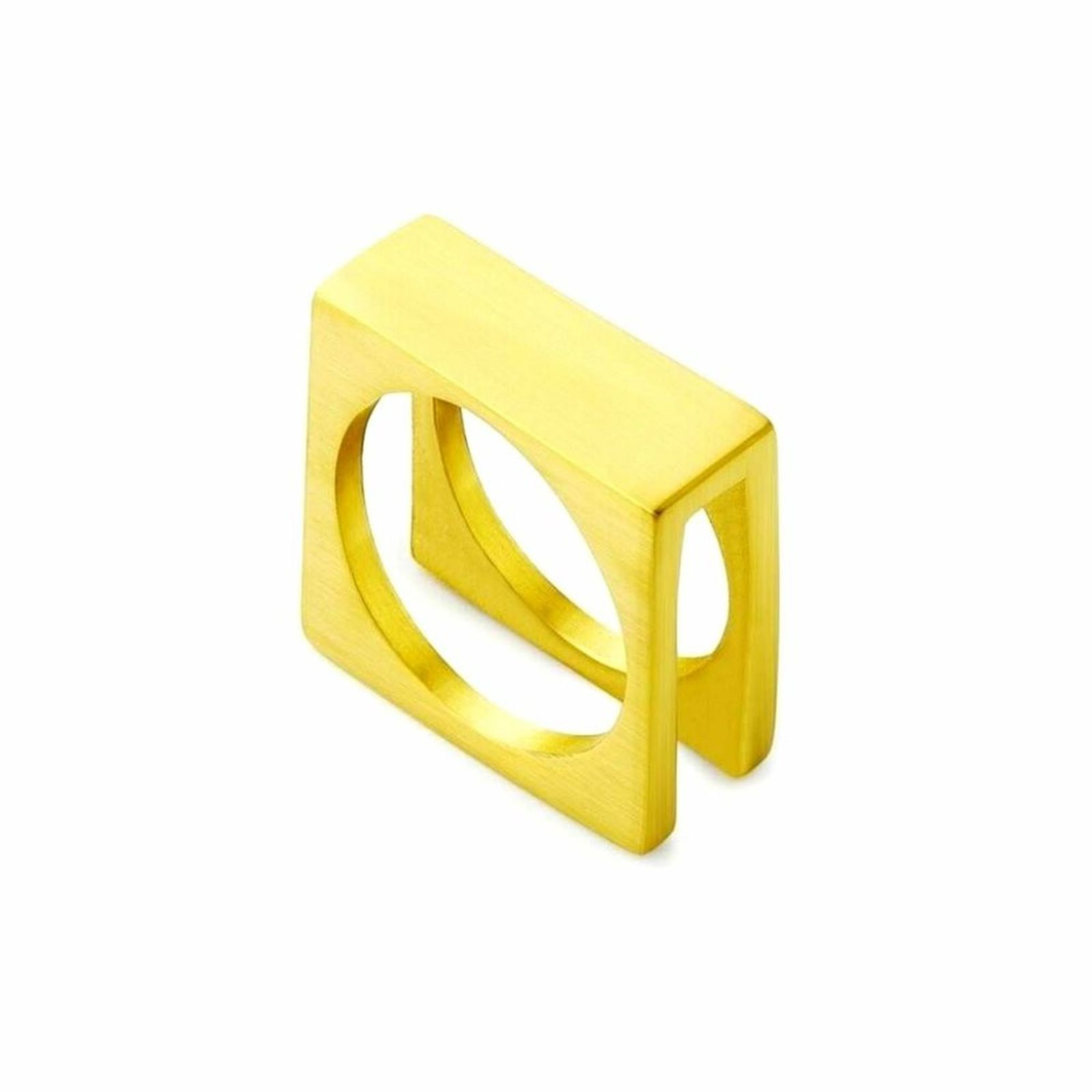 Anel Aço Inox Quadratic Gold