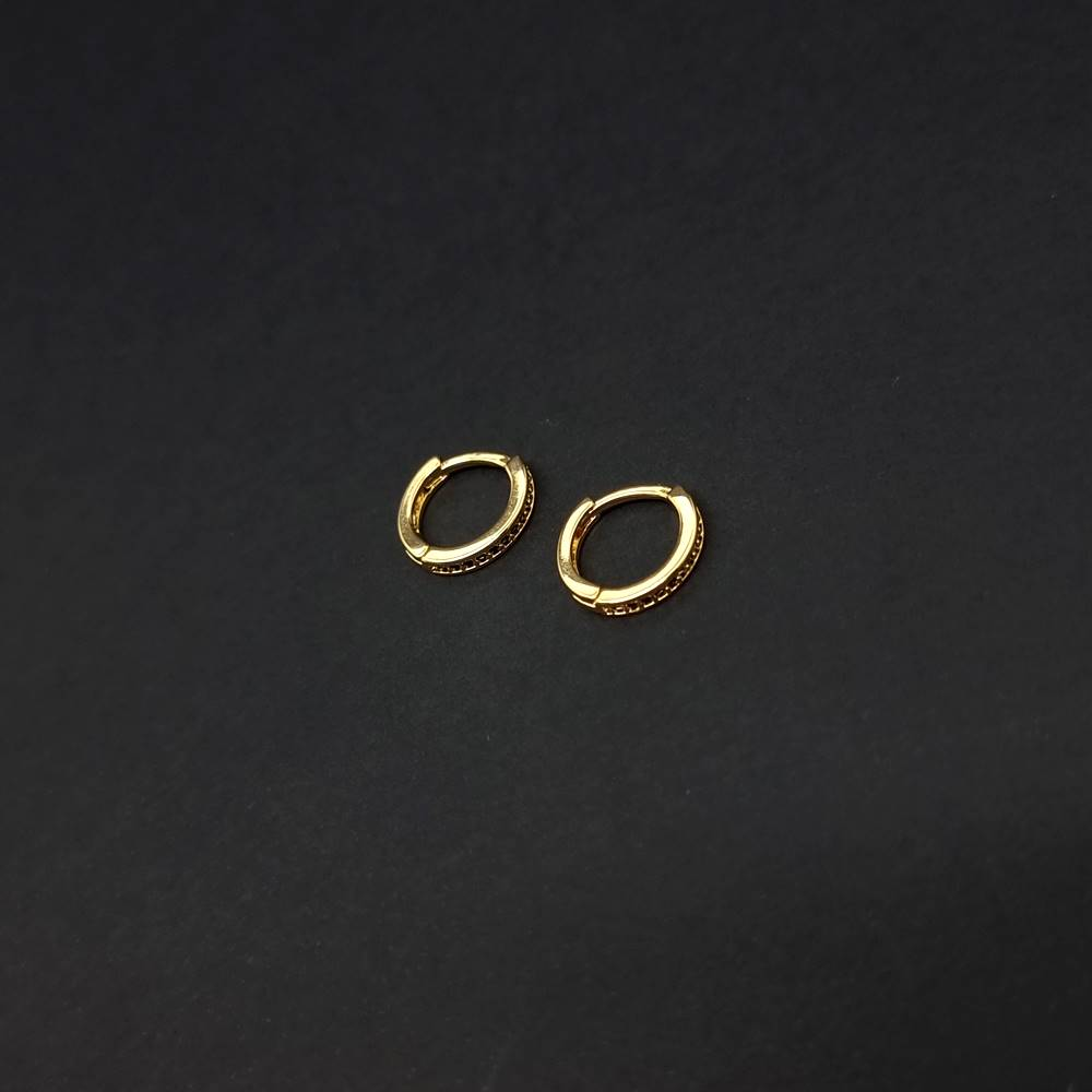 Brinco Banhado Gold Pedra Zircônia Preta