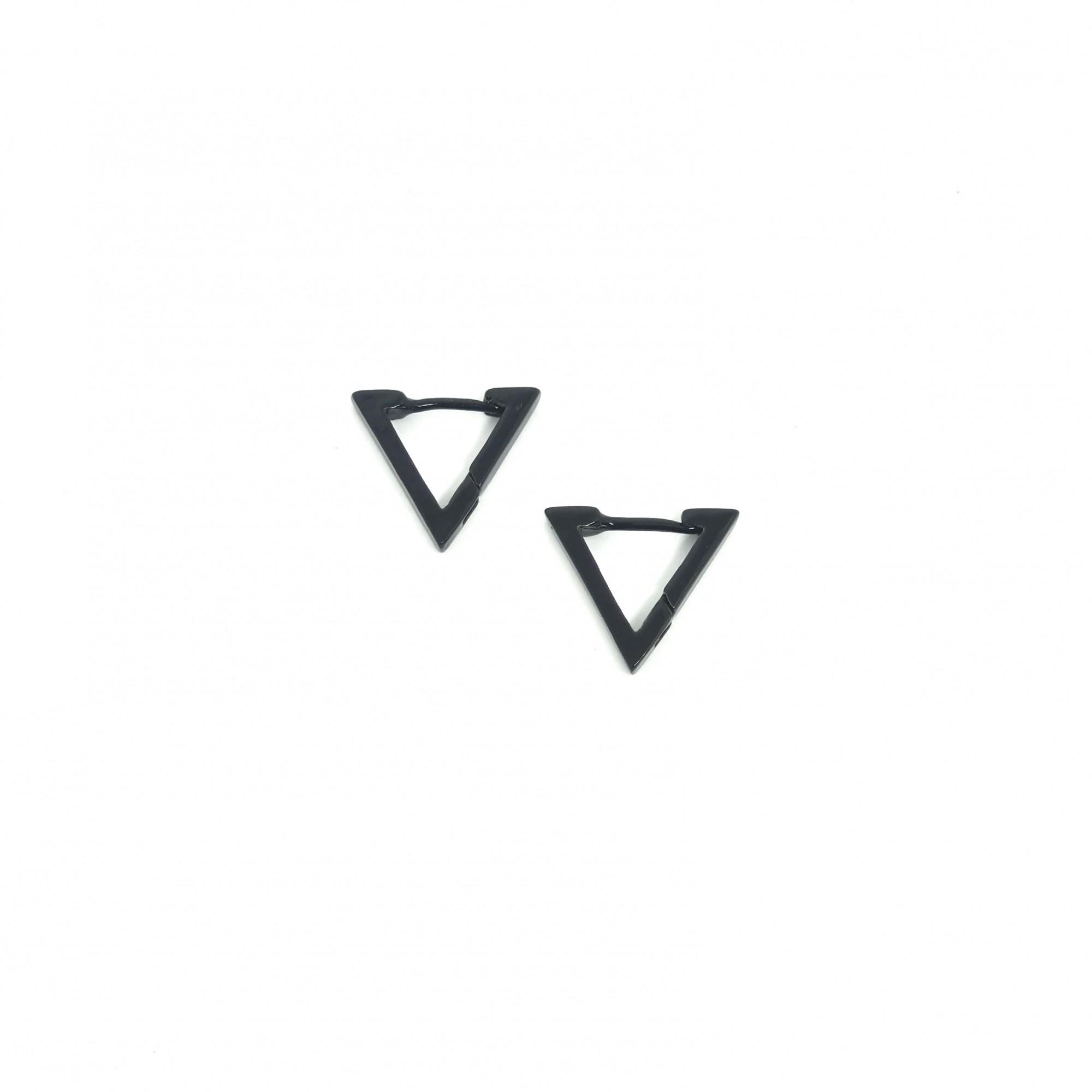 Brinco Masculino Aço Inox Triangulo Preto