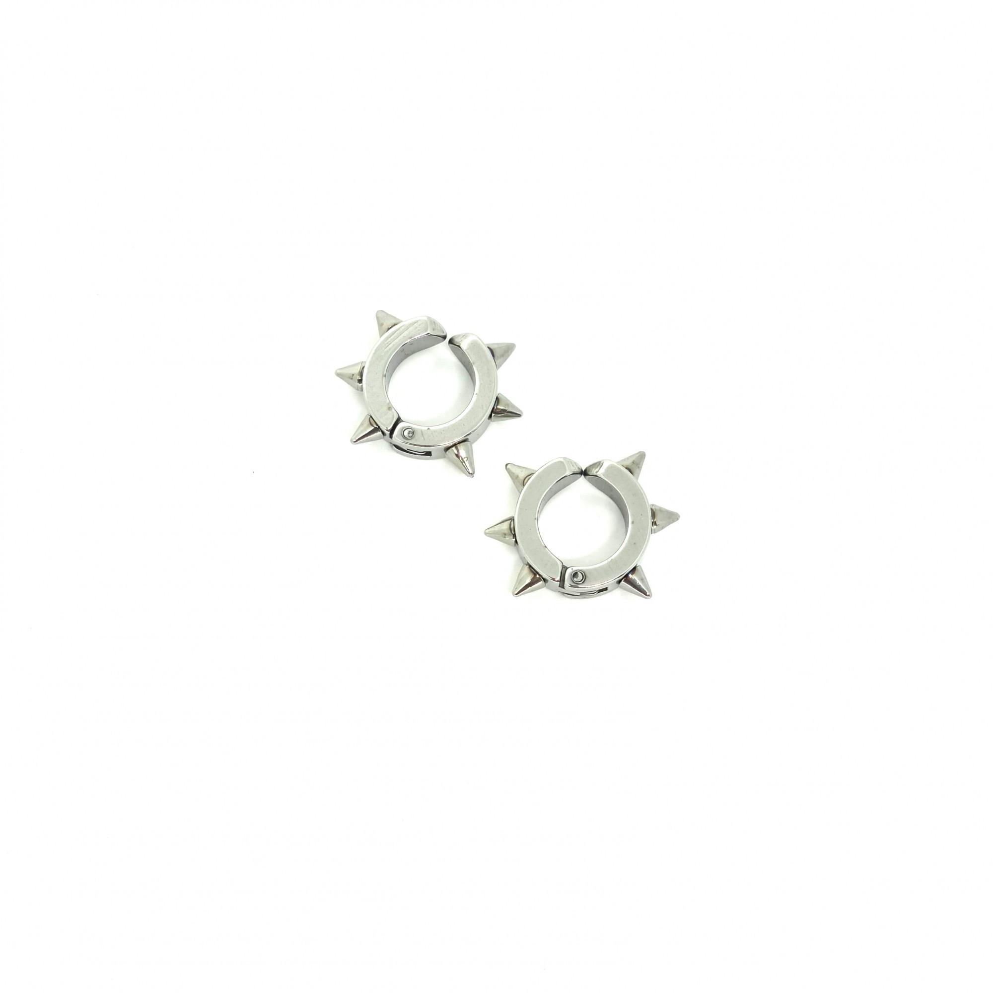 Brinco Masculino de Pressão Aço Inox Ring Spike