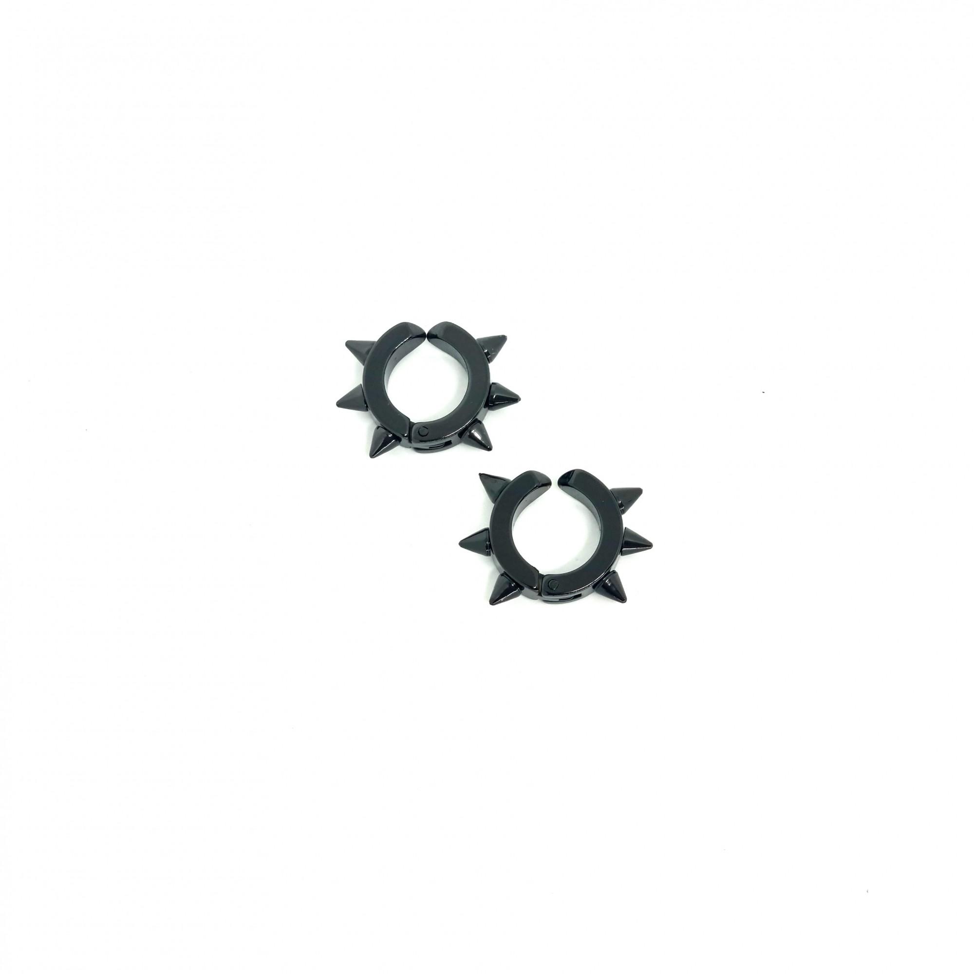 Brinco Masculino de Pressão Aço Inox Ring Spike Preto