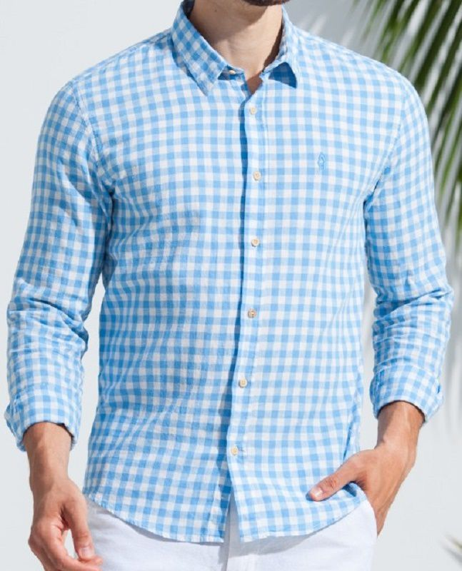 Camisa Ankor de Linho ML Xadrez - Azul