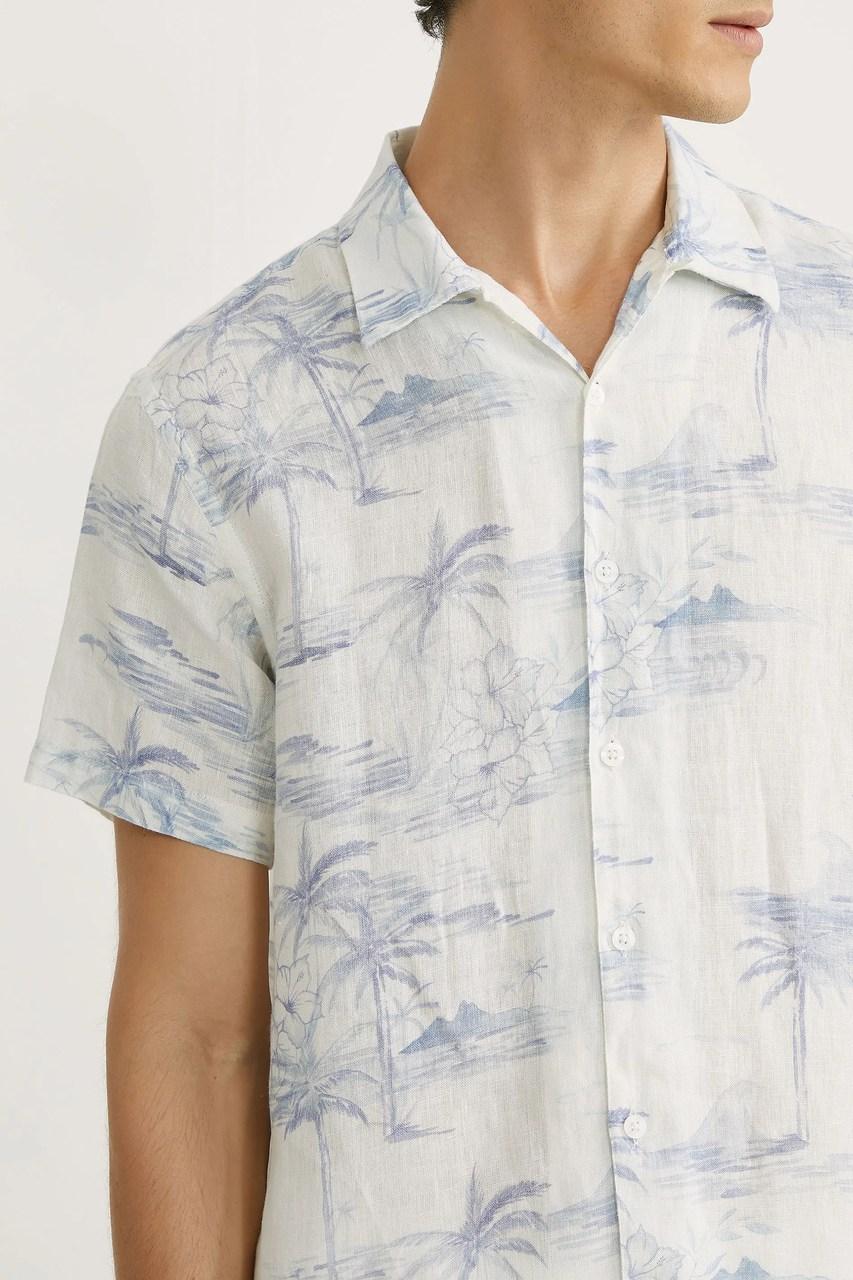 Camisa Foxton ML de Linho Leblon - Natural