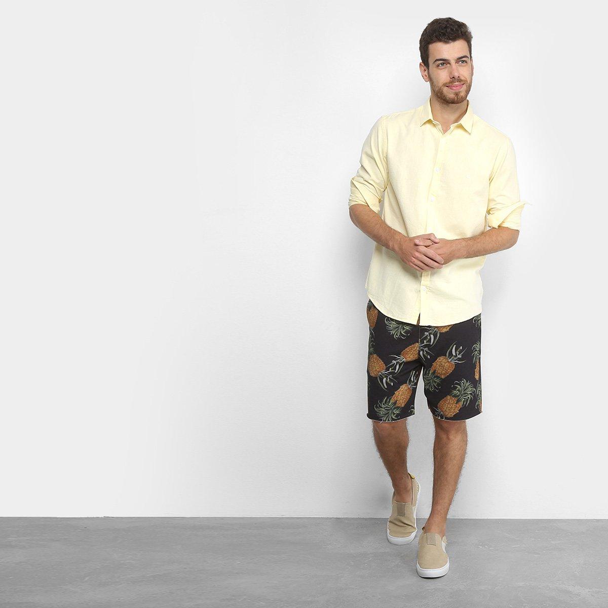 Camisa Foxton ML Oxford - Amarelo