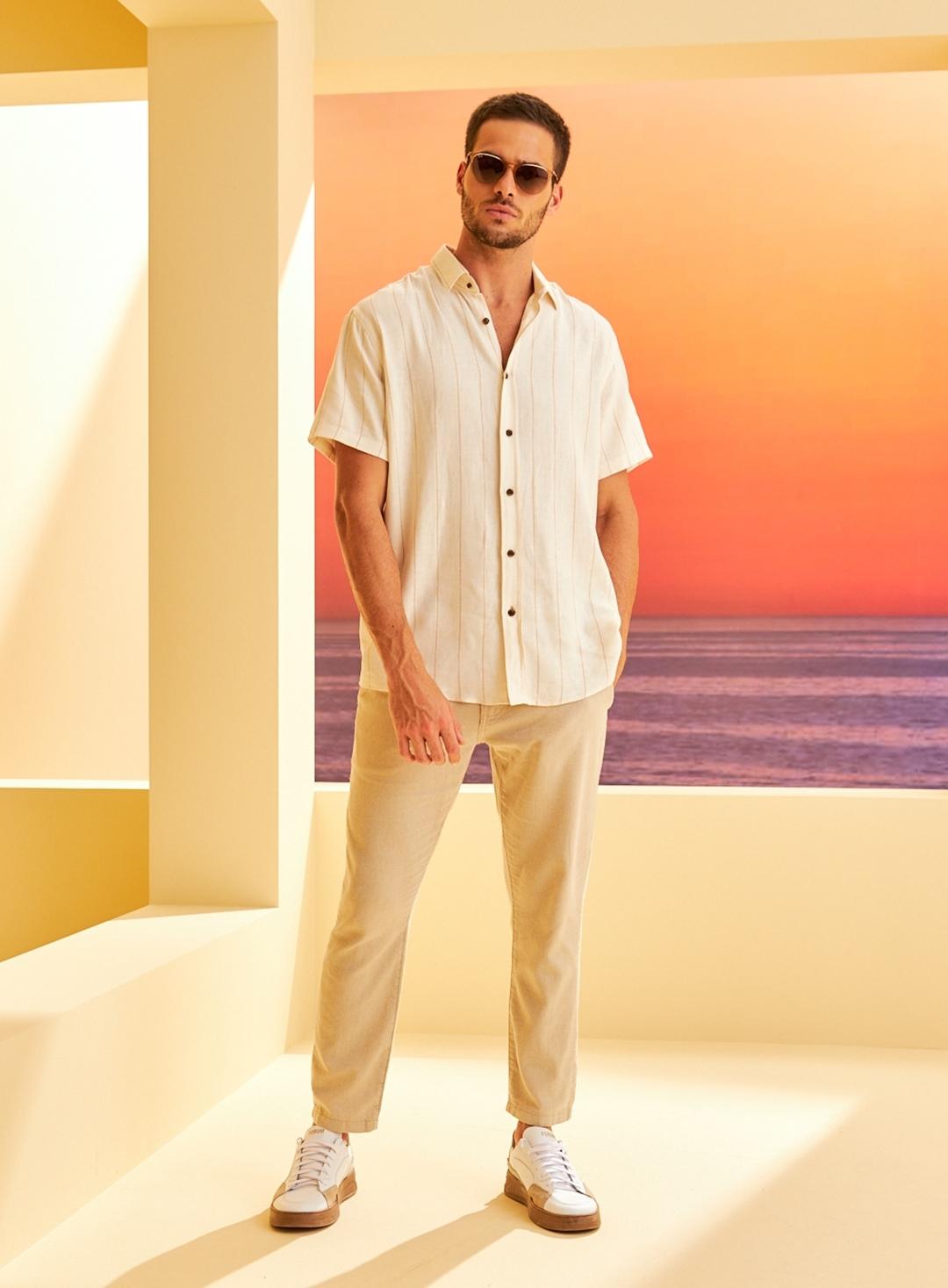 Camisa Linho Listrada - Relax