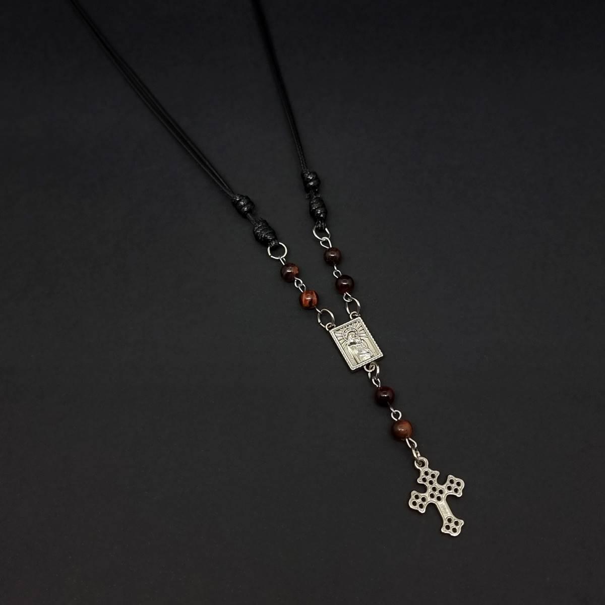 Colar Ajustavel Cross e Stone Vermelho