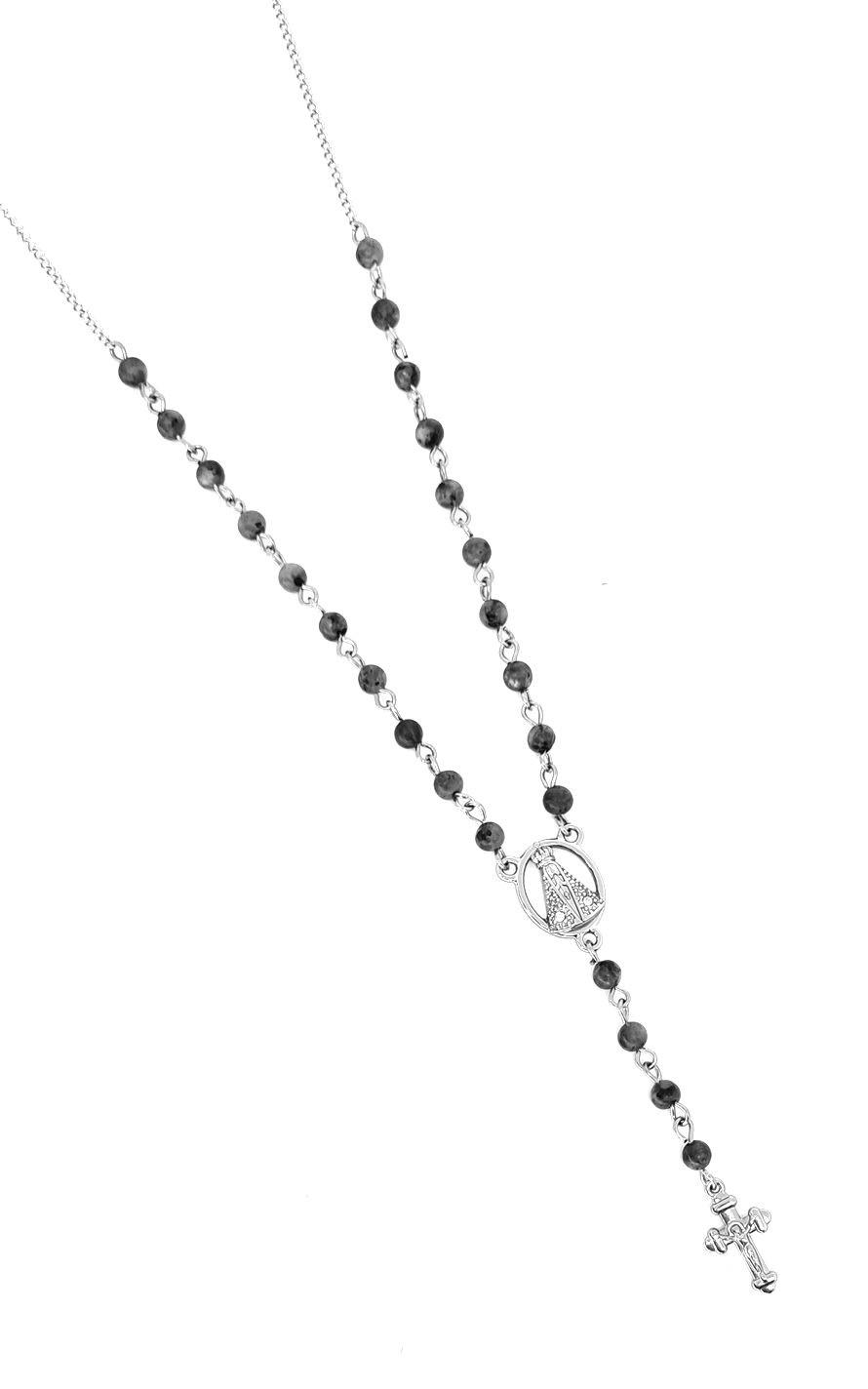 Colar Terço Emporio Top Aço Inox Special Grey Stone