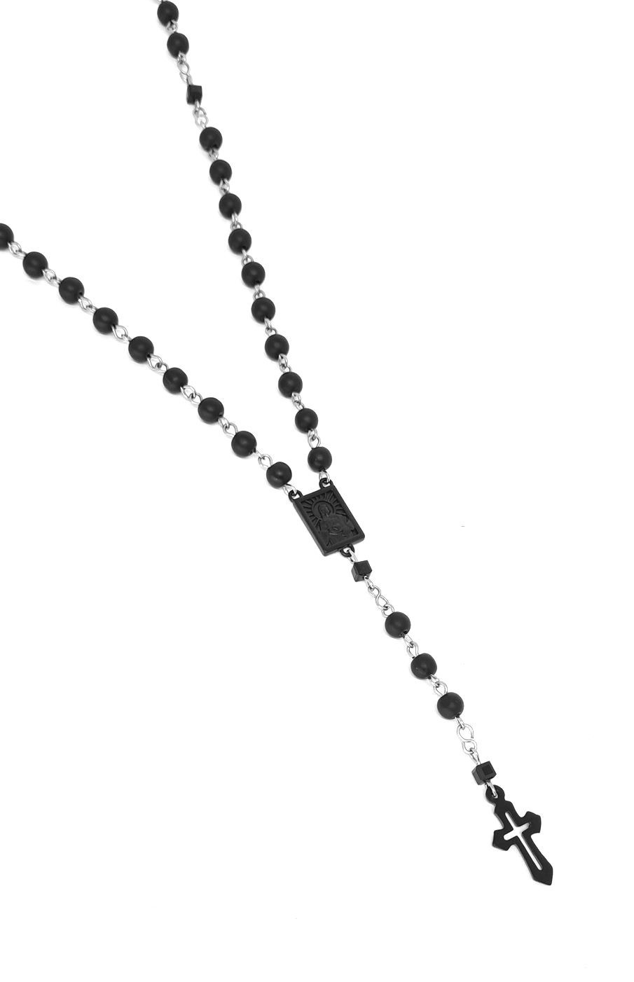 Colar Terço Emporio Top Aço Inox Pedra Matte Black Series