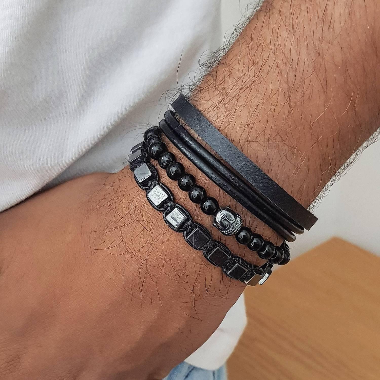 Combo de Pulseiras Black & Grey
