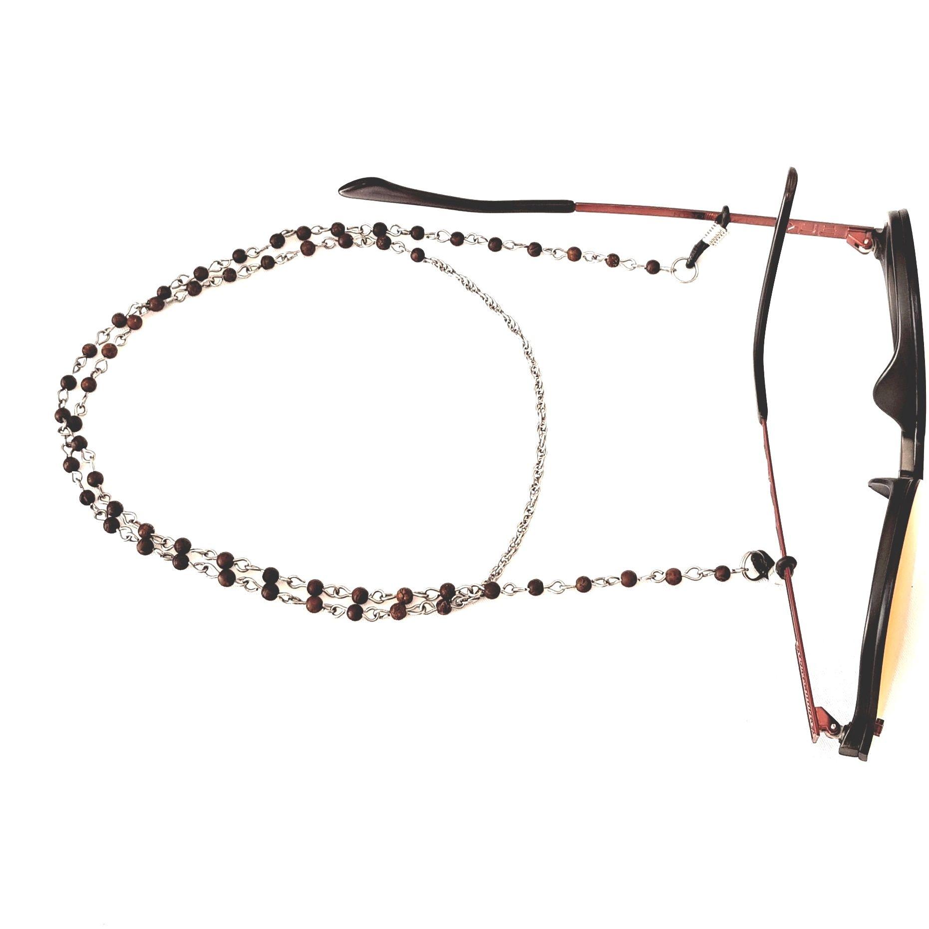 Cordão Empório Top Para Óculos Pedrinha Madeira Marrom