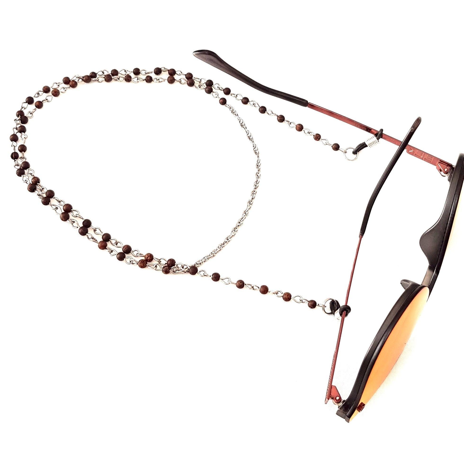 Cordão Para Óculos Pedrinha Madeira Marrom