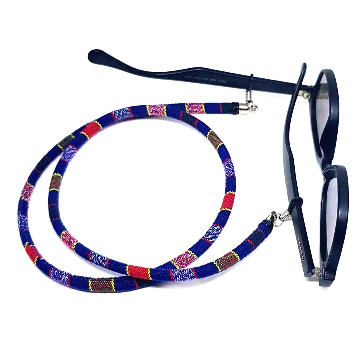 Cordão Para Óculos Étnico Vermelho Azul