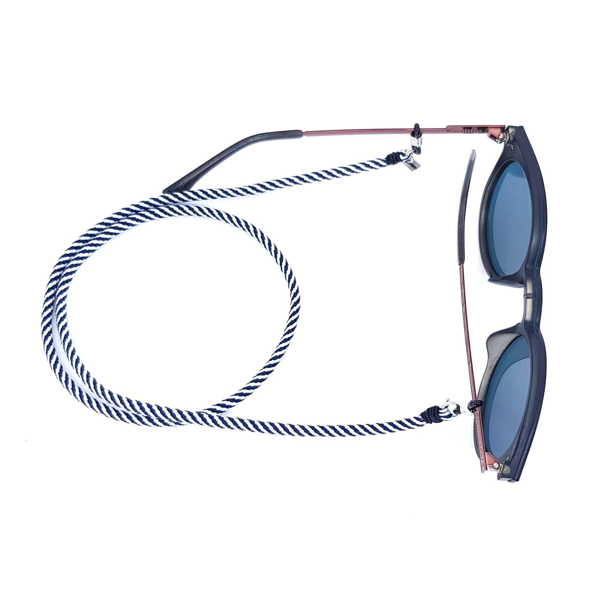 Cordão para Óculos Listrado Azul Marinho e Branco