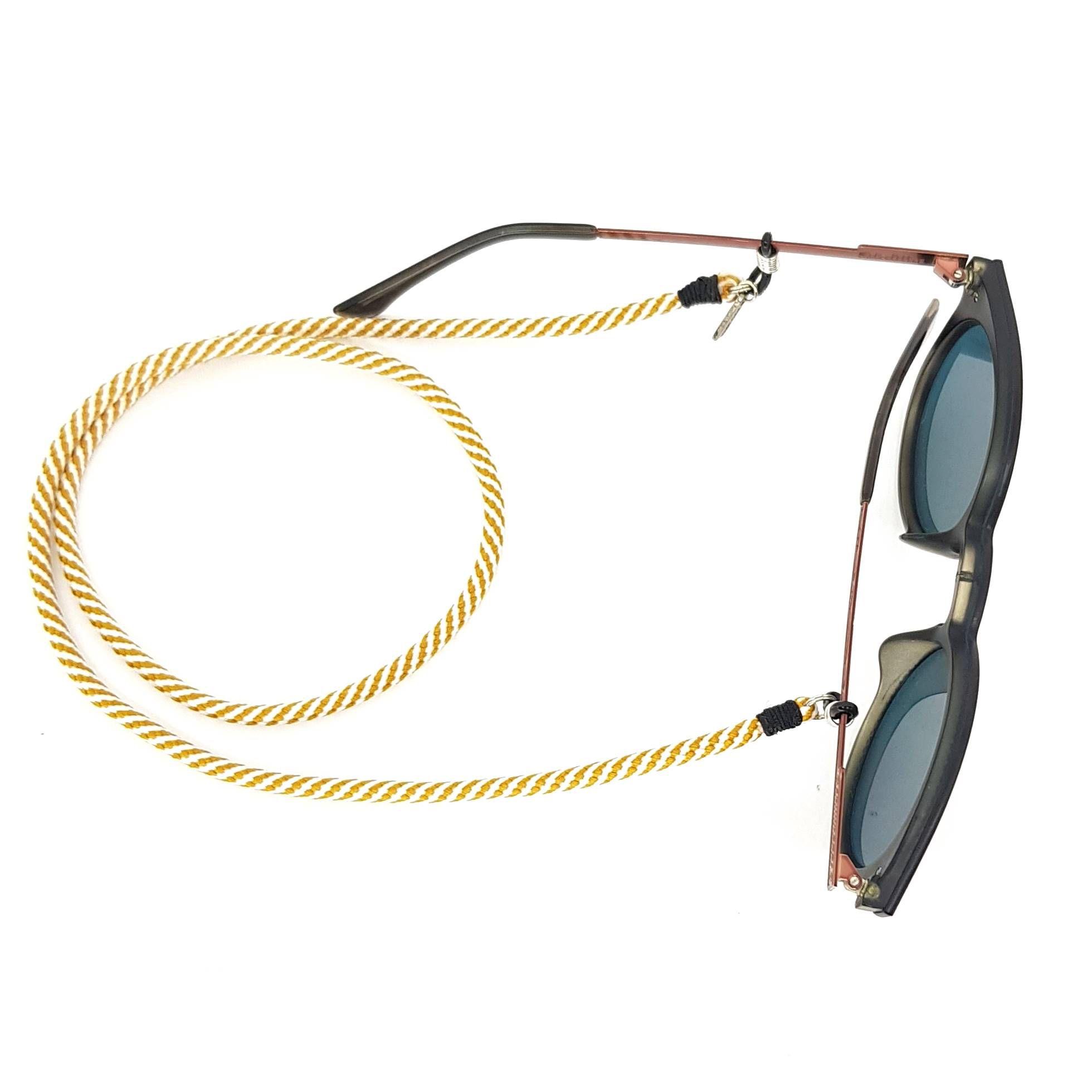 Cordão para Óculos Listrado Creme e Branco