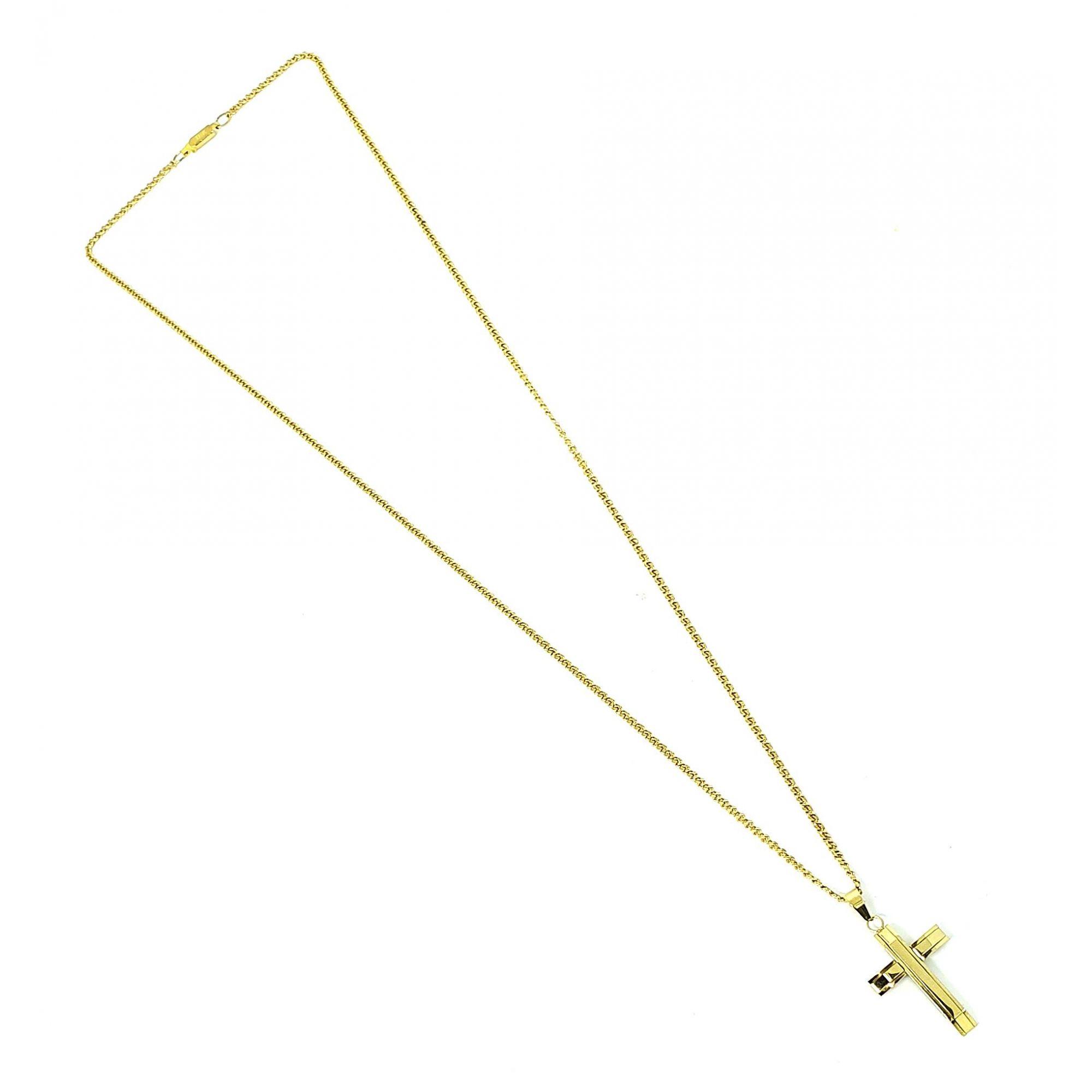 Corrente Aço Inox Cruz Italic Gold