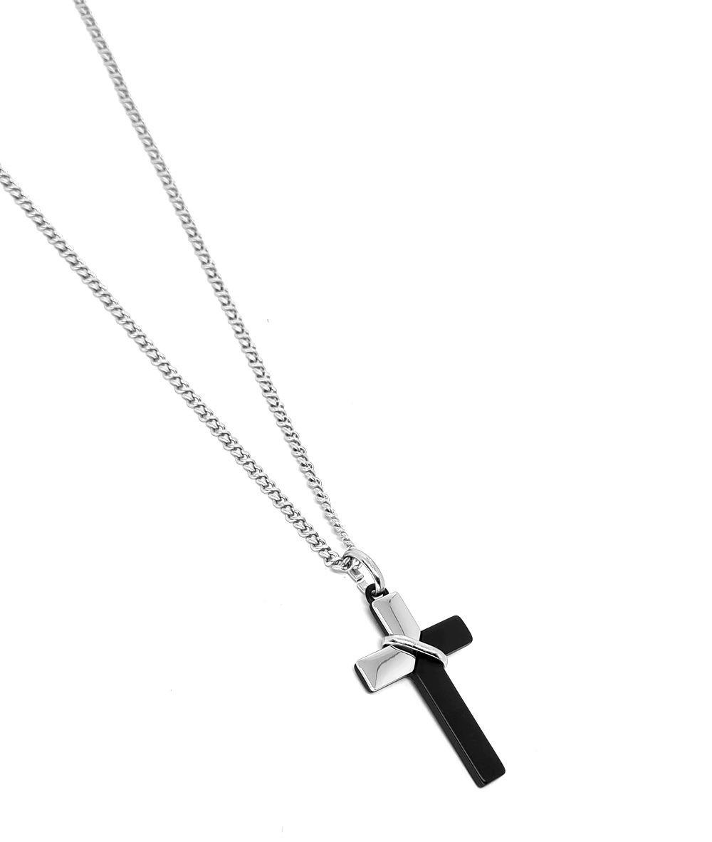 Corrente Emporio Top Aço Inox Cruz Black And Silver