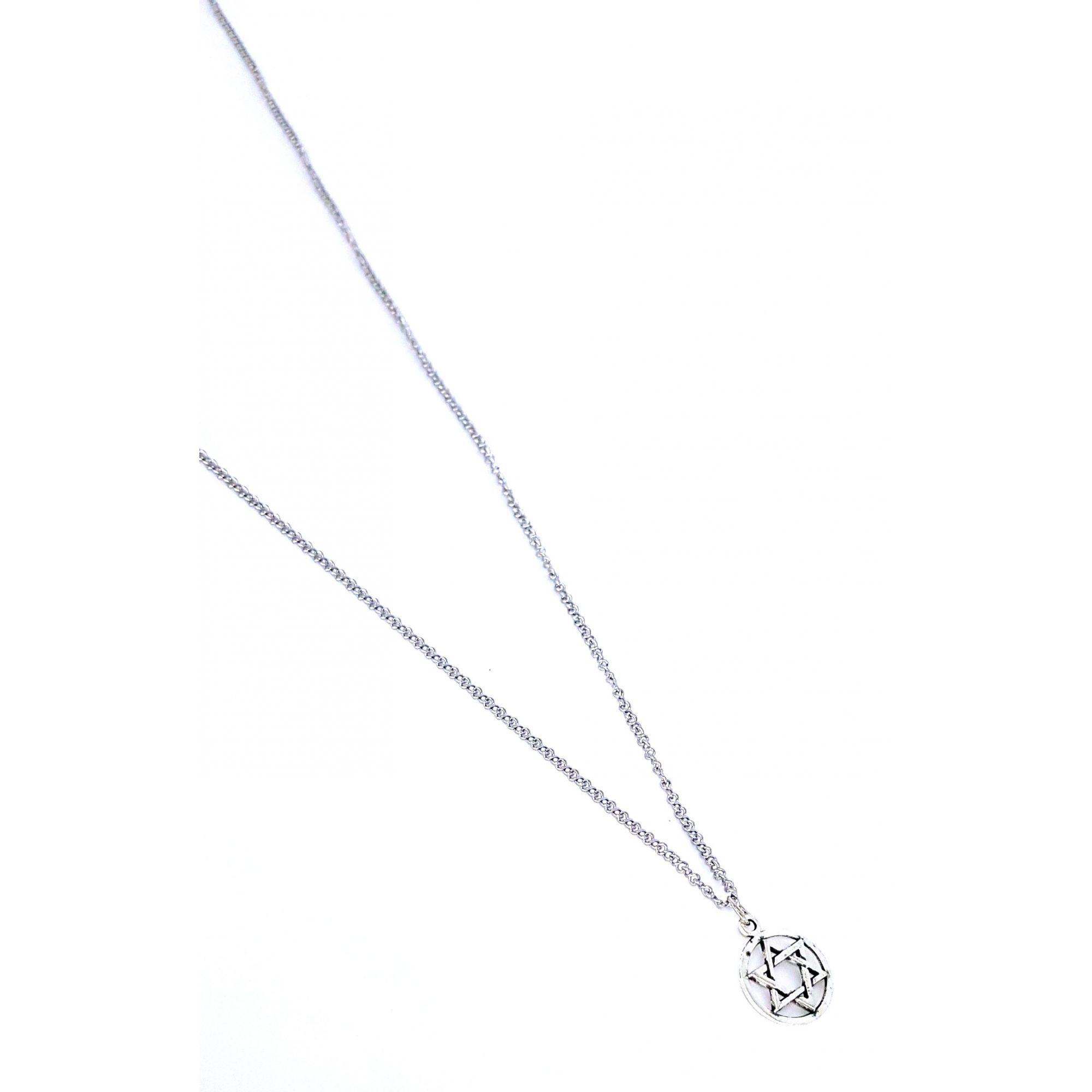 Corrente de Aço Inox Estrela de Davi Prata