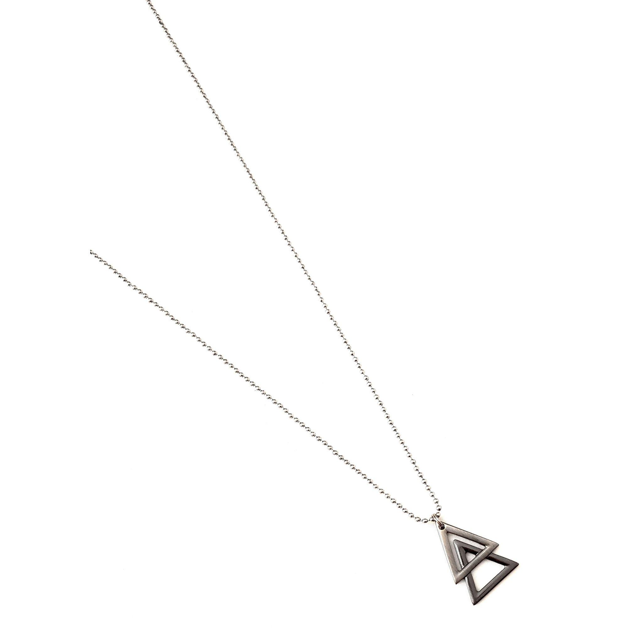 Corrente de Aço Inox Triângulo Duplo Cor Prata