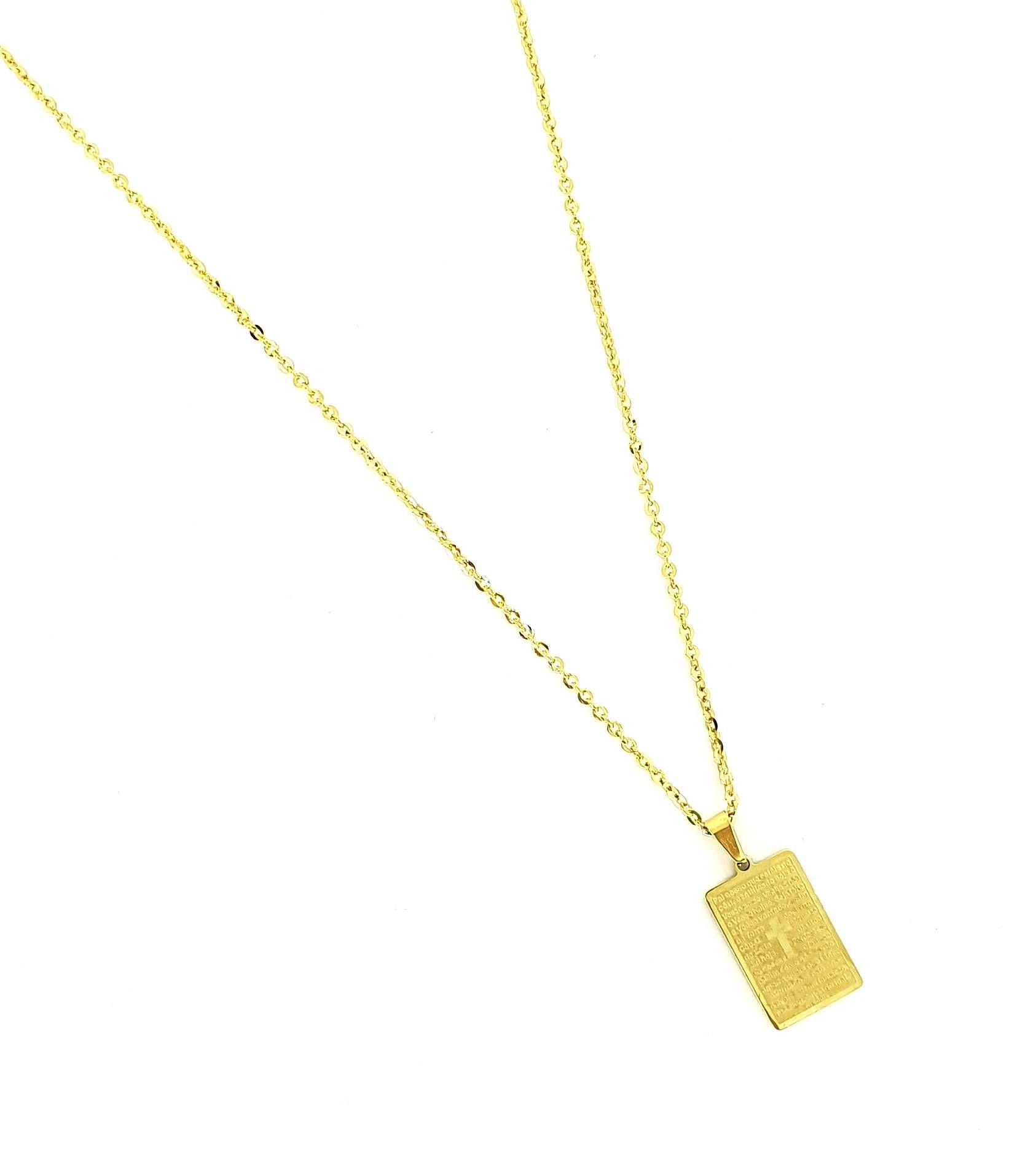 Corrente Gold Pai Nosso Placa